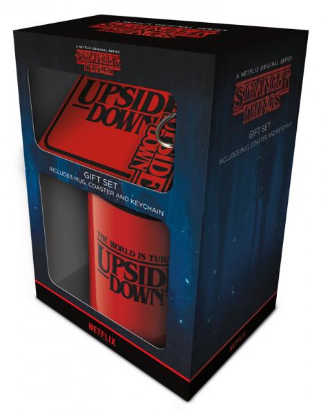 Geschenkbox Stranger Things (Tasse, Untersetzer, Schlüsselanhänger)