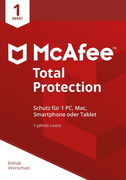 McAfee Total Protection 1 Device 2019 (1 Gerät I 1 Jahr) (Code in a Box) (PC+MAC) - CD-ROM-Eurobox