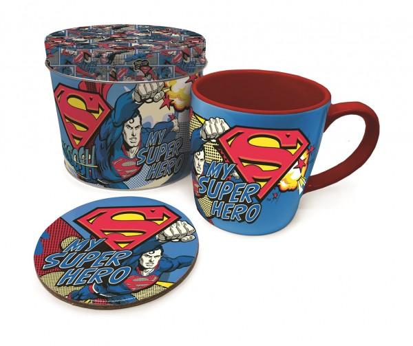 Geschenkbox Superman, my Superhero (Tin-Box, Tasse, Untersetzer)