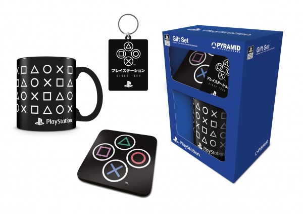 Geschenkbox Playstation (Tasse, Schlüsselanhänger, Untersetzer)
