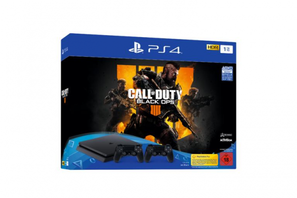 (B-WARE) PS4 1TB (schwarz) + 2 Controller + Call of Duty - Black Ops 4