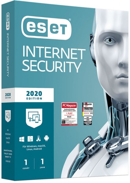 ESET Internet Security 2020 Edition (1 User I 1 Jahr) (PC+Mac+Linux+Android) (Code in a Box)