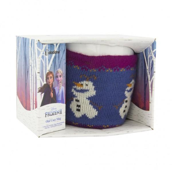 Disney Frozen II Tasse Olaf Cosy Kuschelbecher weiß, bedruckt, 100 % Keramik, mit Strickcover, Fassu