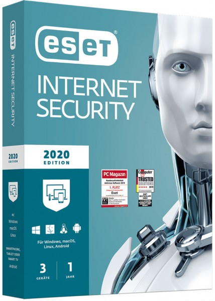 ESET Internet Security 2020 Edition (3 User I 1 Jahr) (PC+Mac+Linux+Android) (Code in a Box)