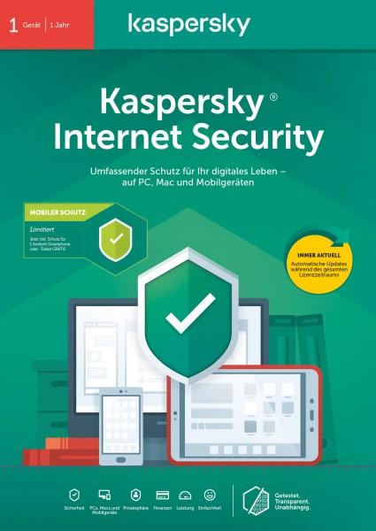 Kaspersky Internet Security + Android Security (1 Gerät I 1 Jahr) (Code in a Box) - CD-ROM-Eurobox