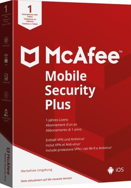 McAfee Mobile Security Plus (Android & IOS) (Code in a box)
