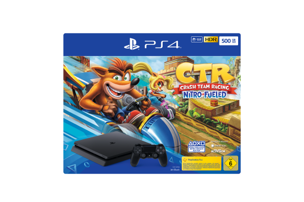 PS4 500 GB (schwarz) inkl. Crash Team Racing Nitro-Fueled