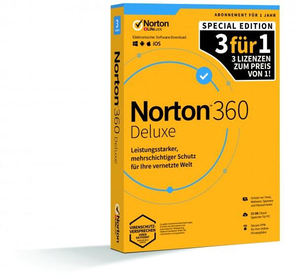 Norton 360 Deluxe 25GB 1 USER - 3 FOR 1
