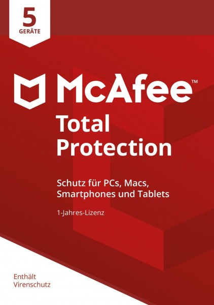 McAfee Total Protection 5 Device 2019 (5 Geräte I 1 Jahr) (Code in a Box)