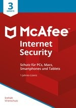 McAfee Internet Security 3 Device 2019 (3 Geräte I 1 Jahr) (Code in a Box) (PC+MAC)